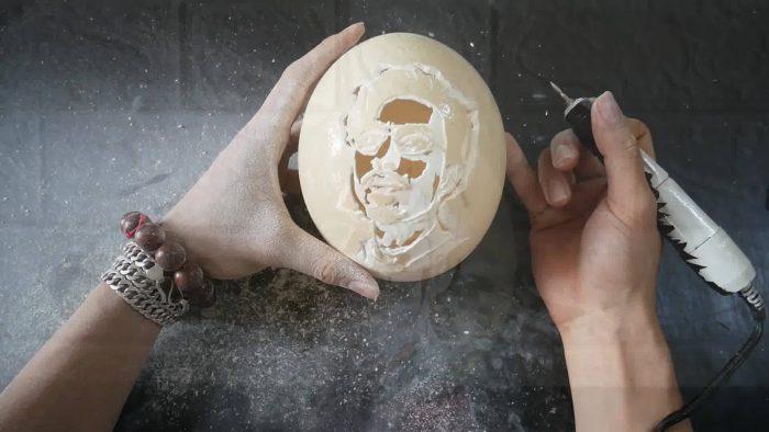 Khắc hình lên Vỏ quả trứng đà điểu - Siêu đẹp 15