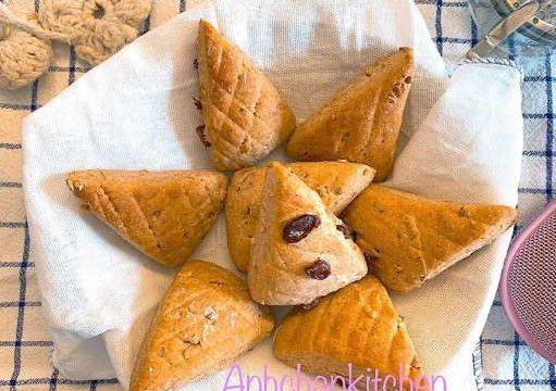 Cách làm Bánh Scone bột nguyên cám nho khô hạnh nhân 40