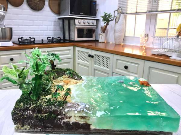 BEACH BIRTHDAY CAKE - Cách làm bánh kem bãi biển cực chất 3