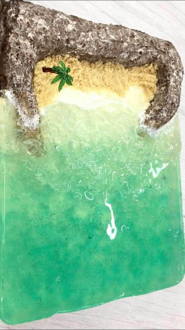 BEACH BIRTHDAY CAKE - Cách làm bánh kem bãi biển cực chất 9