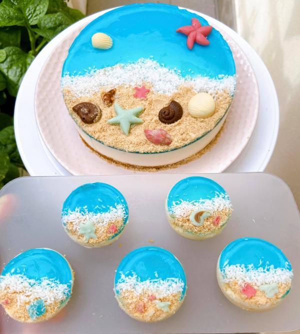 [Công Thức] Cách làm Bánh kem Cheescake biển xanh cực xinh 7