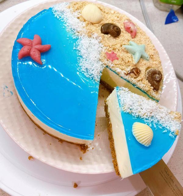 [Công Thức] Cách làm Bánh kem Cheescake biển xanh cực xinh 8