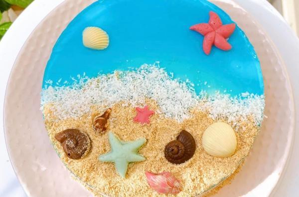 [Công Thức] Cách làm Bánh kem Cheescake biển xanh cực xinh 55