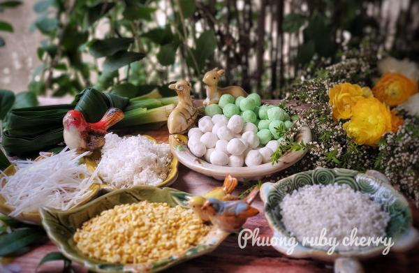 Cách nấu CHÈ ĐẬU XANH TRÂN CHÂU, BỘT BÁNG, THẠCH ĐEN, CỐT DỪA 4
