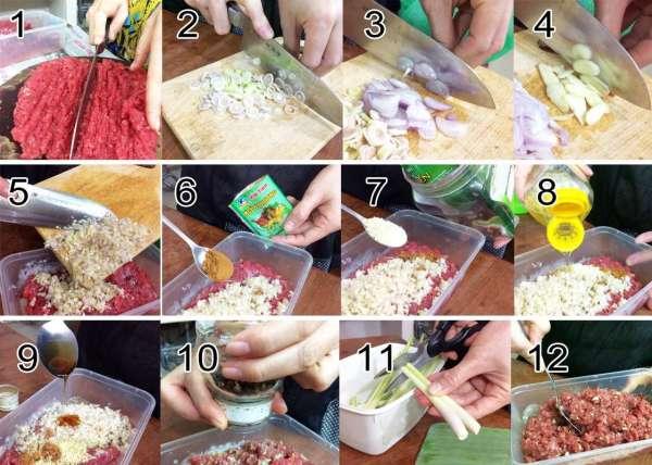 Cách làm Chạo bò nướng sả,  Bò cuộn sả nướng, Nem Bò nướng sả 2