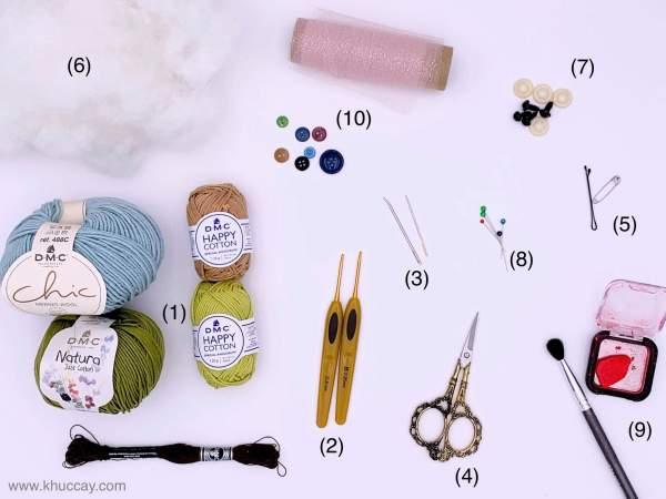Nguyên liệu và dụng cụ cho người mới học móc len, đan len 4