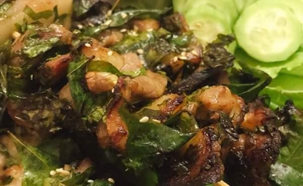Cách làm Thịt nướng xiên que lá mắc mật chấm muối rau răm lá chanh 9
