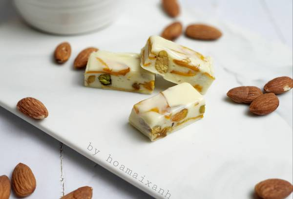[Công Thức] Cách làm Kẹo Nougat (Kẹo Sữa Hạt - kẹo hạnh phúc) 4